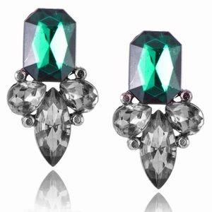 🎀 GORGEOUS ELEGANT EMERALD GREEN STONE EARRINGS